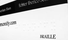 THE FIRST IBERICO HAM BRAND BRAILLE LABELED
